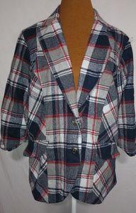 Torrid Red White Blue Plaid Jacket Sz 3X